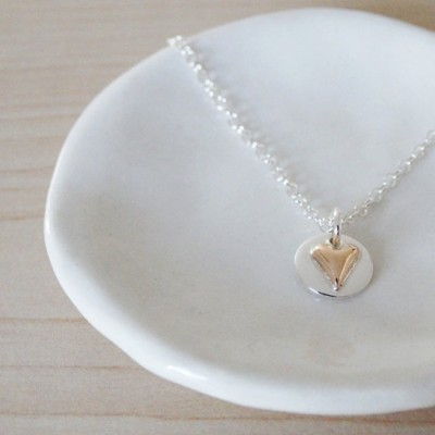 Tiny 18ct Gold Heart & Silver Circle Necklace - Sterling Silver