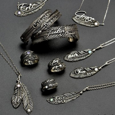 Luxury Feather Series - With Name Jewelry - Handmade By AOL Special