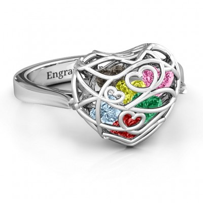 Encased in Love Caged Hearts Ring with Ski Tip Band - Handmade By AOL Special