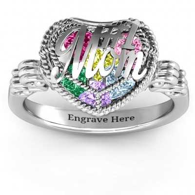 #1 Mom Caged Hearts Ring with Butterfly Wings Band - Handmade By AOL Special