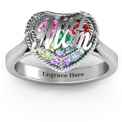 #1 Mom Caged Hearts Ring with Ski Tip Band - Handmade By AOL Special