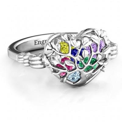Family Tree Caged Hearts Ring with Butterfly Wings Band - Handmade By AOL Special