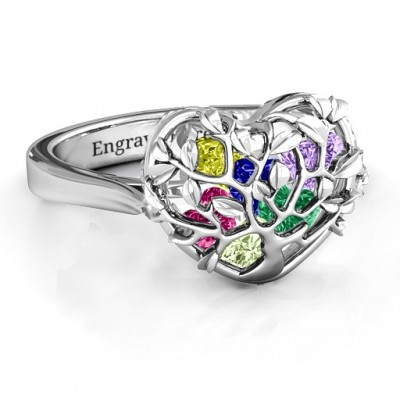 Family Tree Caged Hearts Ring with Ski Tip Band - Handmade By AOL Special