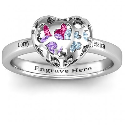 Heart Cut-out Petite Caged Hearts Ring with Classic with Engravings Band - Handmade By AOL Special