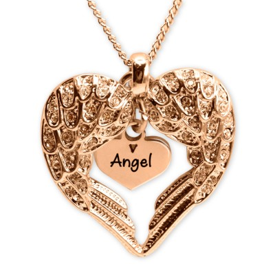 Personalized Angels Heart Necklace with Heart Insert - 18ct Rose Gold - Handmade By AOL Special