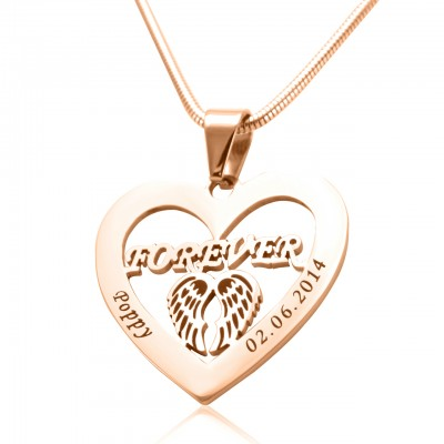 Personalized Angel in My Heart Necklace - 18ct Rose Gold Plated - Handmade By AOL Special