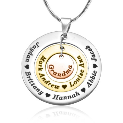 Personalized Circles of Love Necklace - Three Tone - Rose Gold Silver - Handmade By AOL Special
