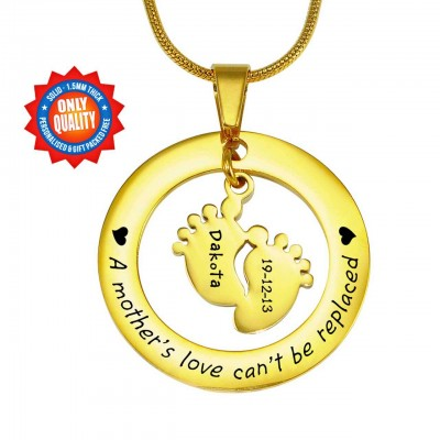Personalized Cant Be Replaced Necklace - Single Feet 18mm - 18ct Gold Plated - Handmade By AOL Special