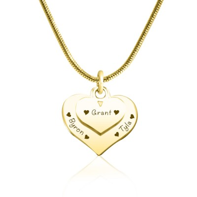 Personalized Double Heart Necklace - 18ct Gold Plated - Handmade By AOL Special