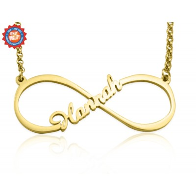 Personalized Single Infinity Name Necklace - 18ct Gold Plated - Handmade By AOL Special