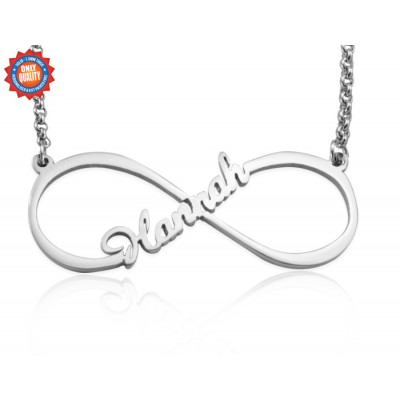 Personalized Single Infinity Name Necklace - Sterling Silver - Handmade By AOL Special