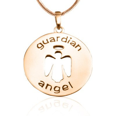 Personalized Guardian Angel Necklace 1 - 18ct Rose Gold Plated - Handmade By AOL Special