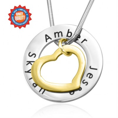Personalized Heart Washer Necklace - TWO TONE - Gold Silver - Handmade By AOL Special