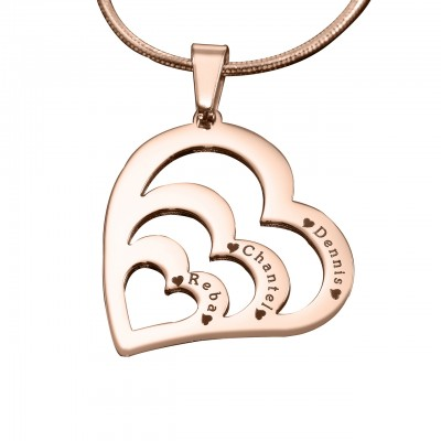 Personalized Hearts of Love Necklace - 18ct Rose Gold Plated - Handmade By AOL Special