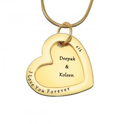 Personalized Love Forever Necklace - 18ct Gold Plated - Handmade By AOL Special