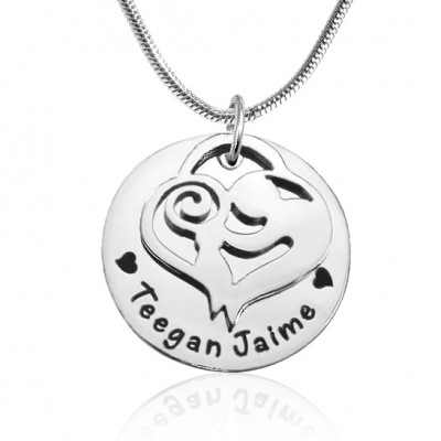 Personalized Mother's Disc Single Necklace - Sterling Silver - Handmade By AOL Special