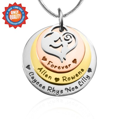 Personalized Mother's Disc Triple Necklace - Three Tone - Rose Gold Silver - Handmade By AOL Special