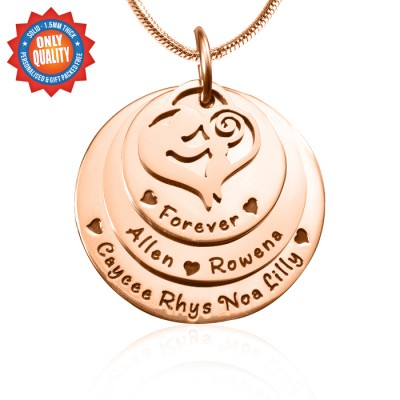 Personalized Mother's Disc Triple Necklace - 18ct Rose Gold Plated - Handmade By AOL Special