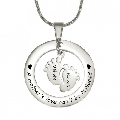 Personalized Cant Be Replaced Necklace - Single Feet 18mm - Sterling Silver - Handmade By AOL Special
