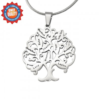Personalized Tree of My Life Necklace 10 - Sterling Silver - Handmade By AOL Special