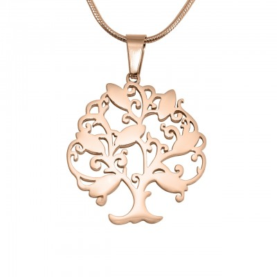 Personalized Tree of My Life Necklace 7 - 18ct Rose Gold Plated - Handmade By AOL Special