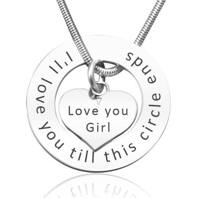 Personalized Circle My Heart Necklace - Sterling Silver - Handmade By AOL Special