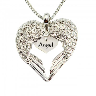 Personalized Angels Heart Necklace with Heart Insert - Handmade By AOL Special