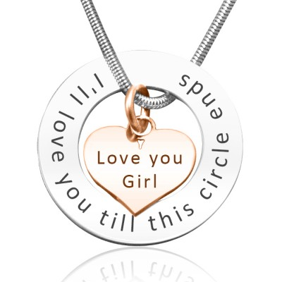 Personalized Circle My Heart Necklace - Two Tone HEART in Rose Gold - Handmade By AOL Special