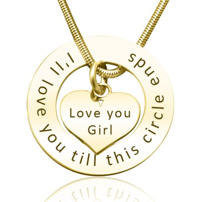 Personalized Circle My Heart Necklace - 18ct Gold Plated - Handmade By AOL Special