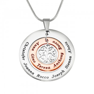 Personalized Circles of Love Necklace - TWO TONE - Rose Gold Silver - Handmade By AOL Special