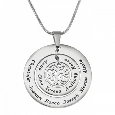 Personalized Circles of Love Necklace Tree - Silver - Handmade By AOL Special