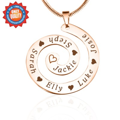 Personalized Swirls of Time Necklace - 18ct Rose Gold Plated - Handmade By AOL Special