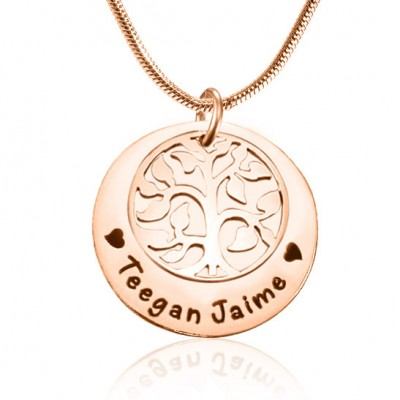 Personalized My Family Tree Single Disc - 18ct Rose Gold Plated - Handmade By AOL Special