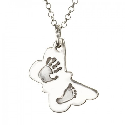 Butterfly Hand Foot Print Necklace - Handmade By AOL Special