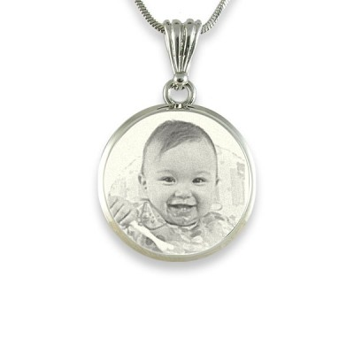925 Sterling Silver Photo In Circle Pendant Necklace - Handmade By AOL Special