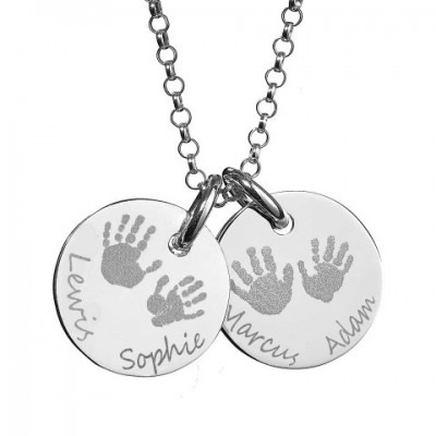 Large Engraved Handprint Necklace For Children - Handmade By AOL Special
