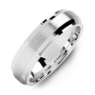 Beveled Edge Men's Ring with Brushed Centre - Handmade By AOL Special