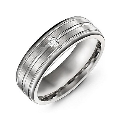 Brushed Layer Men's Ring with Milgrain Edges - Handmade By AOL Special