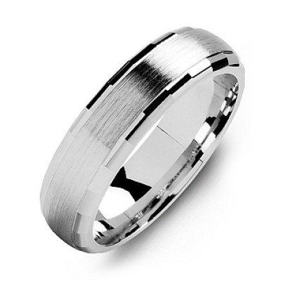 Dome-Shaped Brushed Men's Ring with Baguette Edges - Handmade By AOL Special