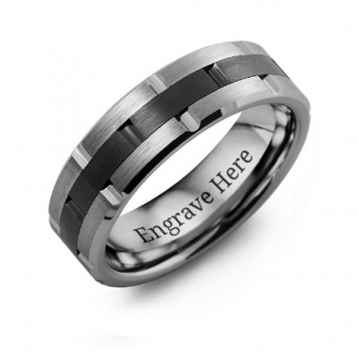 Men's Tungsten & Ceramic Grooved Brushed Ring - Handmade By AOL Special