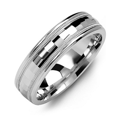 Milgrain Men's Ring with Baguette-Cut Centre - Handmade By AOL Special