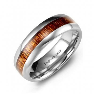 Polished Tungsten Ring with Koa Wood Insert - Handmade By AOL Special