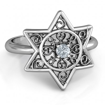 Star of David with Filigree Ring - Handmade By AOL Special