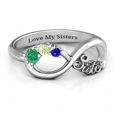 e943a69c950d25 Sterling Silver 2-4 Stone Sisters Infinity Ring - Handmade By AOL Special
