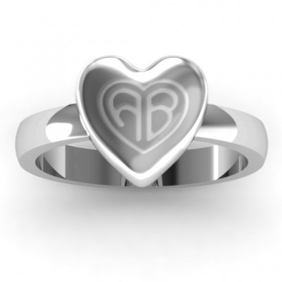Sterling Silver Large Engraved Monogram Heart Ring - Handmade By AOL Special