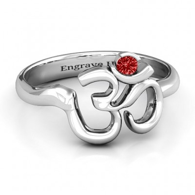 Sterling Silver Om - Sound of Universe Ring with Round Stone - Handmade By AOL Special