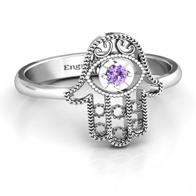 Sterling Silver Protection Hamsa Ring - Handmade By AOL Special