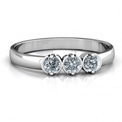 Sterling Silver Trinity Ring with Cubic Zirconias Stones - Handmade By AOL Special
