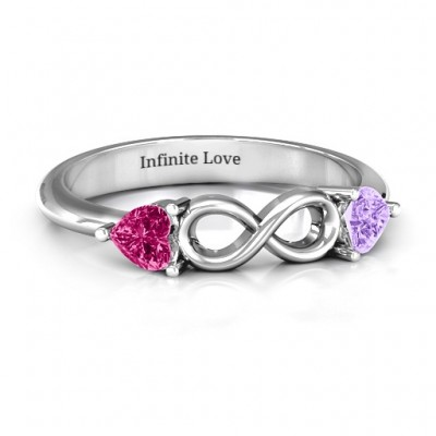Sterling Silver Two Hearts to Infinity Ring - Handmade By AOL Special