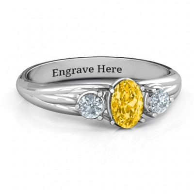 Three Stone Oval Centre Ring - Handmade By AOL Special